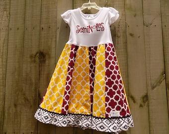 Lovely FSU/Seminole Embroidered Stripework Dress