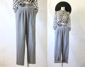 gray silk lined trousers