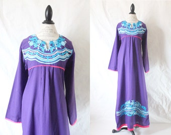 c1970's Embroidered Bohemian Festival Dress