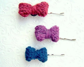 Knit Bow Bobby Pin Set, Little Bow Hair Accessories, Hair Pin Bow Set, Purple, Blue, Red, Bow Set, Back to School, Bow Bobbies, Small bows