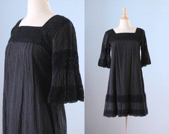 1970s black baby doll dress / 70s cotton hippie dress