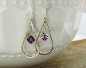 Silver Teardrop Earrings, Purple Crystal Earrings, Amethyst Crystal Chandelier Earrings, Violet, February, Birthstone Earrings