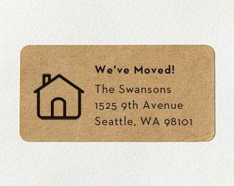 Custom Printed Return Address Labels - House Design, Moving Announcement, Kraft Address Labels, Housewarming Gift