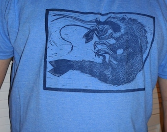 Raccoon Shrimp Blue T-shirt