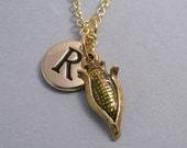 Corn Cob Charm Necklace, Corn Cob Charm, Corn Cob Keyring, Gold Plated Charm, Initial Charm, Personalized, Charm Necklace