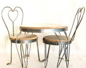 Doll Furniture, Bistro Set, Table and Chairs, Wire Table, Wire Chairs, Metal Furniture, Metal and Wood, Doll Chair, Doll Table, Larger Size