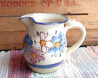 Wildflower garden handmade small pitcher - 2 cup pitcher - ceramic creamer - pottery jug - utensil holder - small rustic jug - 010302