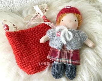 Waldorf doll (girl 7 inch). Pocket doll. Doll in bag. Christmas doll.