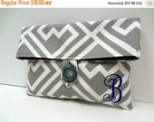 ON SALE Gray and Purple Wedding Clutch Monogrammed Gift Makeup Bag Bridal Party Gift