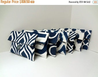 ON SALE Navy Bridesmaid Clutches, Gray and Navy Clutches, Bridesmaid Gift Set of 7