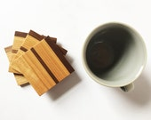 Petite Handmade Wood Coasters - Cherry Wood and Walnut Accent - Set of 4