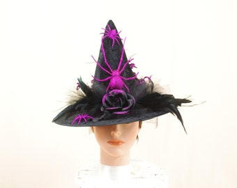 Childs Witch Hat, Black Witch Hat, Black and Purple Witch Hat, Halloween Costume, Witch Costume, Halloween Witch, Childs Spider Hat