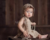 Newborn Fabric Bonnet and Matching Wrap. Tan. Neutral. Brown. Blue. Newborn. Baby. Girl. Photography Prop. Vintage. Savannah.Tolola Design.