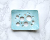Bubble HOLES soap dish with aqua glaze. White porcelain, bathroom accessory, geometric design