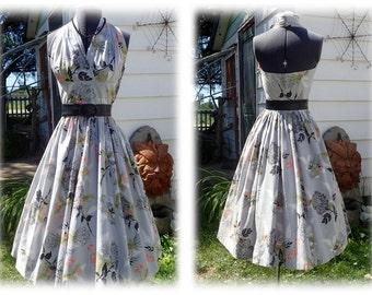 Vintage 1950's TONI TODD Halter Dress-Marilyn Monroe Bombshell Rockabilly Designer Sundress - sz 6-8
