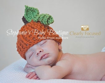 "Crochet Baby Pumpkin Hat, Custom Made, Boy Girl Newborn 0-3M 3-6 Month Cap,  Beanie ""Mommy's Lil Punk'n"" Photo Photography Prop Shower Gift"