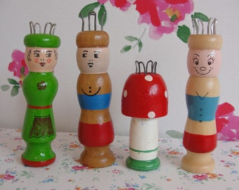 Vintage Wooden French Knitting Dolls - Knitting Nancy - Hand Painted - Set of Four