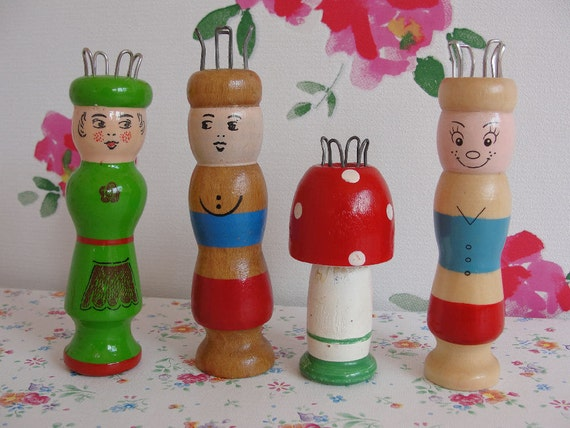 Wooden Knitting Doll : Vintage wooden french knitting dolls nancy hand