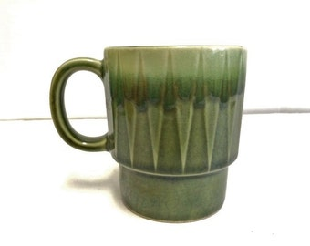Vintage Stackable Coffee Mug Made in Japan Avocado Green 70s