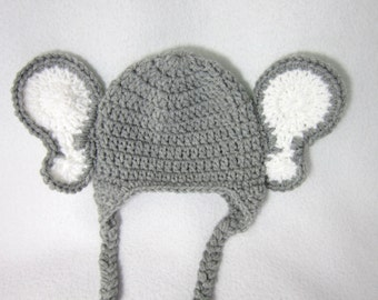 Gray Elephant Beanie Cap, Crochet Baby Jungle Animal Hat, Photo Prop by Charlene, Grey Elephant Hat with Braid and Earflaps, Baby Gift