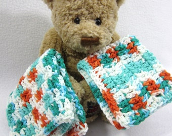 Cotton Dishcloths Aqua, Orange and White ~Large Crochet Cotton Washcloths  Set of Two, Hostess Gift, Present for Teacher, Kitchen Accessory