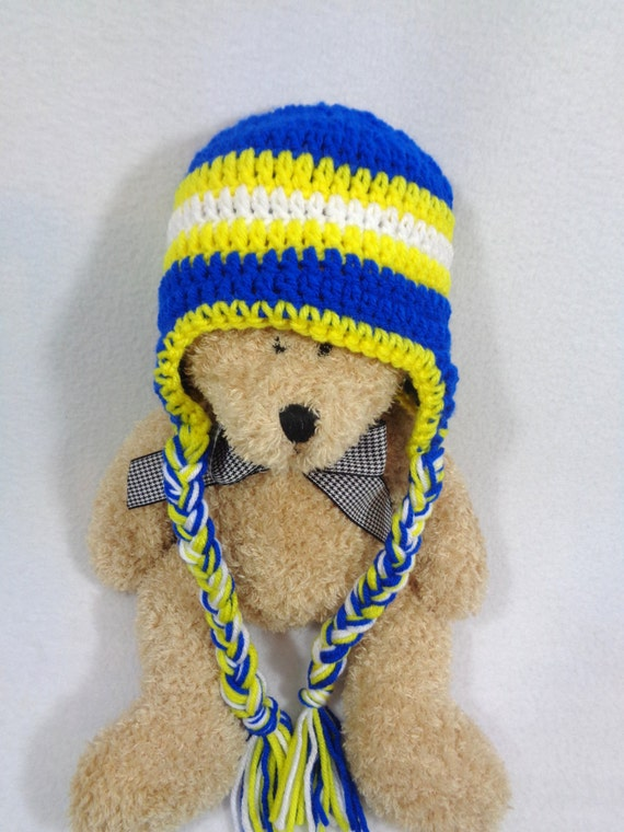 St Louis Blues Inspired Baby Hat Blue Yellow and White Cap