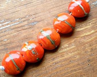 Coral Lentil Lampwork Beads, SRA, UK Seller, UK Lampwork