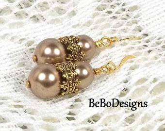 Swarovski Pearl Drop Earrings in Bronze