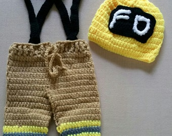 Newborn Firefighter Photo Prop, Crochet baby firefighter Set of helmet and overall
