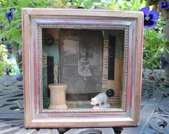 Tiny art assemblage, shadow box, collage, funky junk home decor