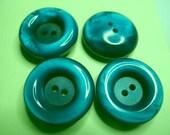 4 Teal Blue Casein Modern Buttons - 2 hole - 7/8 inch each