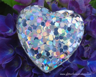 Big Silver Holographic Glitter Resin Heart Ring, Giant 90's Raver Dance Party Ring, Trendy High Fashion Statement Ring,