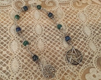 Prayer Beads, , Lapis & Chrysocolla Prayer Beads, Tree of Life