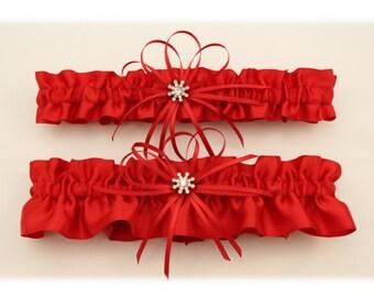 Red Satin Wedding Garter with Rhinestone Charms, Bridal Garter, Prom Garter  (Your Choice, Single or Set)