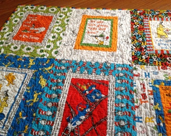 Green Eggs and Ham Quilt  Dr. Seuss red, green, blue, yellow, orange - B