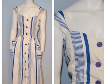 Vintage 1960's J. Ellis Blue and White Striped Midi Dress with Large Pockets and Buttons