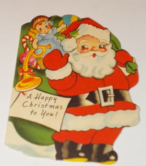 Items similar to santa claus with bag of toys on his back