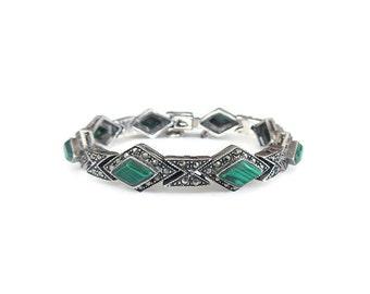 Sterling Malachite Bracelet, Marcasites, Sterling Silver, 925, Art Deco Style, Vintage Bracelet, Vintage Jewelry
