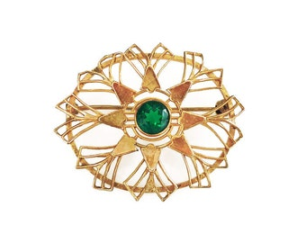 Wells Brooch, Victorian Revival, Emerald Green, Rhinestone, 12K Gold Filled, Vintage Pin, Holiday Jewelry