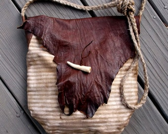 Primitive Longhunter Mountain Man Possibles bag Haversack of Bark Tanned Leather and Pillow Ticking