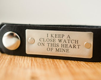 I Keep A Close Watch on This Heart of Mine Leather Key Chain - Accessory, Anniversary Gift, Custom Keychain, Wedding Gift,