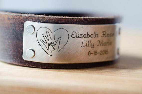 Child's Name Birth Announcement with Custom Date on Distressed Leather Cuff
