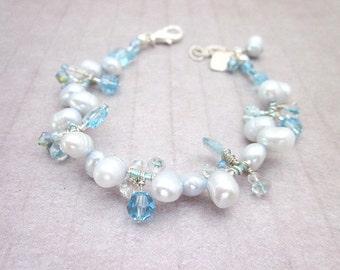 Light Blue Pearl Bracelet -- Light Blue & Silver Bracelet -- Silver and Blue Pearl Bracelet -- Blue Crystal and Pearl Bracelet