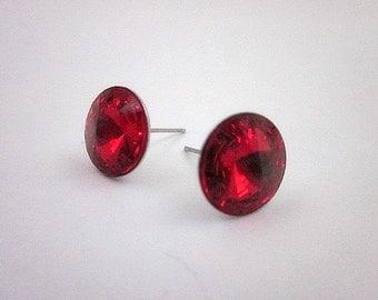 Siam Crystal Earrings -- Red Post Earrings -- Siam Swarovski Earrings -- Red Crystal Studs -- Red Swarovski Studs --Siam Earrings- Red Posts