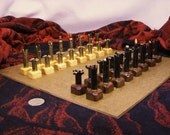 Bullet Shell Chess Pieces Set- 223 Caliber - Black painted vs. polished brass