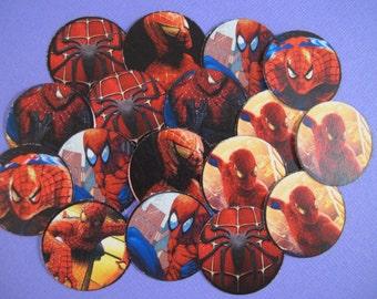 "50 Pre-cut 1"" round Spiderman Bottlecap images Scrapbooking/Bows"
