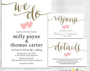 Wedding Invitation suite / calligraphy wedding invite set / modern wedding invitation / printable digital file