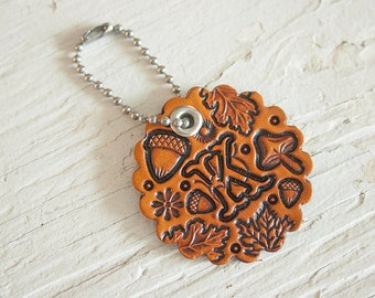 Custom initial leather key fob - Autumn Pattern Bag tag - hand painted and hand stamped - Acorn, oak leaf and mushroom