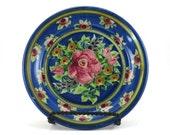 Blue Dinnerware - Handmade Floral Ceramic Plate - Pottery Dish for Dessert or Bread - Red Rose