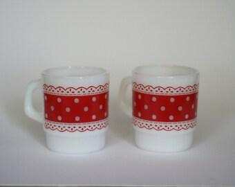 vintage fire king coffee mugs red polka dot pattern set of two